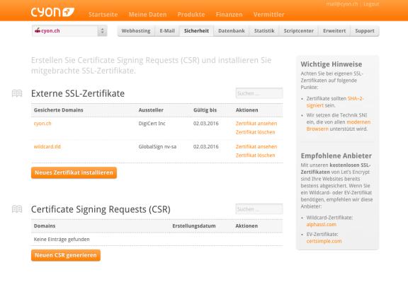 Externe SSL-Zertifikate lassen sich genauso bequem verwalten.