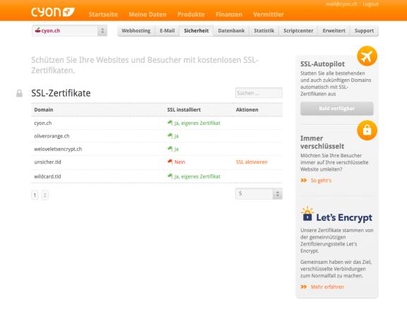 Ein Klick und das kostenlose SSL-Zertifikat von Let's Encrypt installiert.