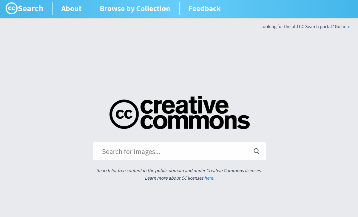 Screenshot search.creativecommons.org