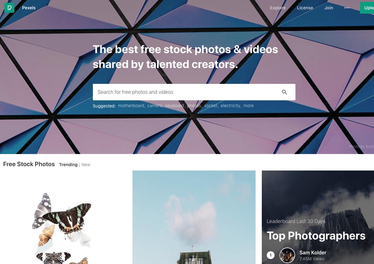 Screenshot pexels.com