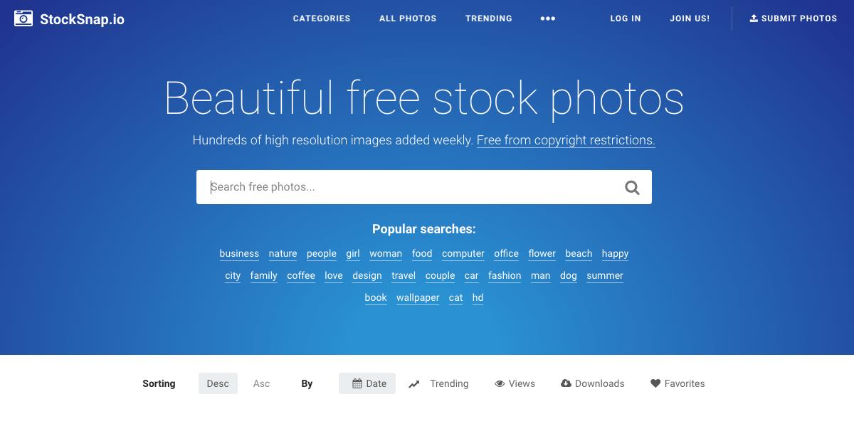 Screenshot stocksnap.io