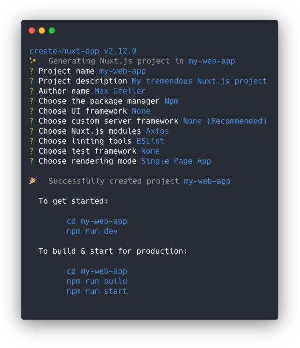 Startschuss: Ein neues Nuxt-Projekt erstellen.