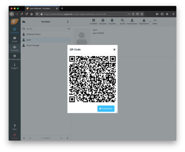 Kontakte lassen sich neu praktisch per QR-Code anzeigen.