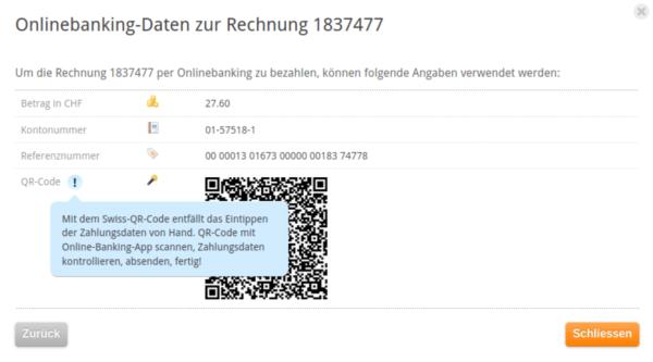 Screenshot Zahlungsinformationen inkl. QR-Code my.cyon