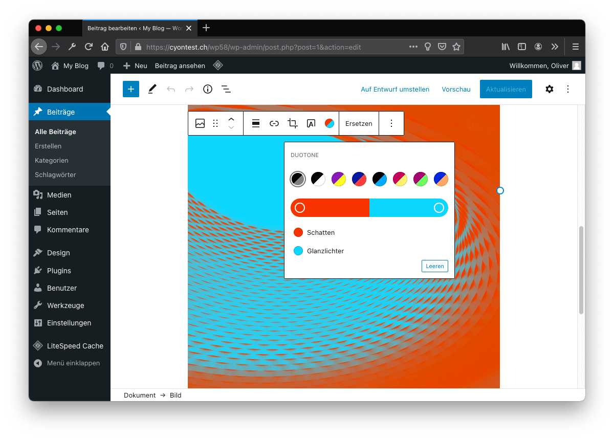 WordPress 5.8: Duotone-Effekt.