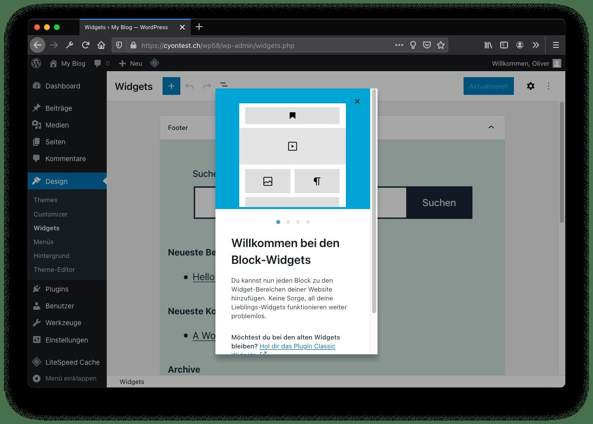 WordPress 5.8: Block-Widgets