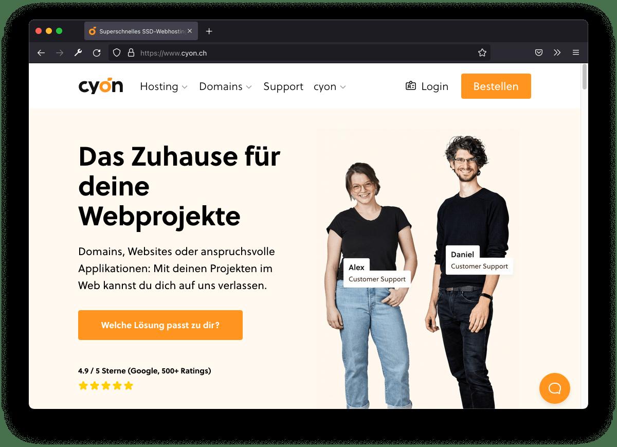 Screenshot www.cyon.ch